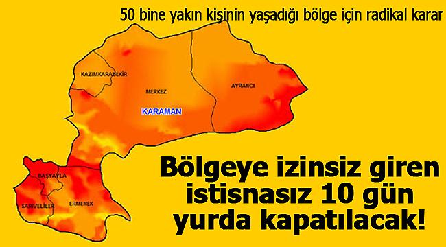 Karaman'da o bölgeye izinsiz giren herkes istisnasız 10 gün yurda kapatılacak